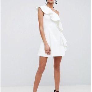 ASOS WHITE RUFFLE DRESS